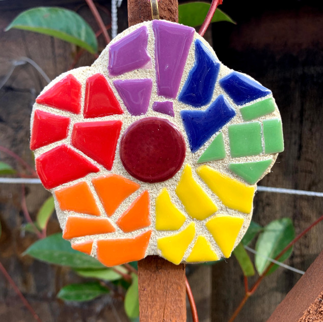 Rainbow Mosaic Flower Garden Ornament