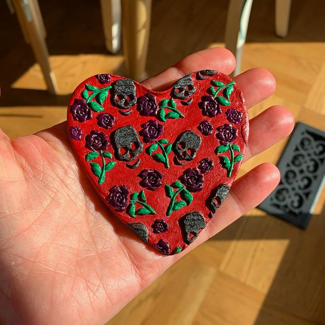 Ceramic Skull Heart