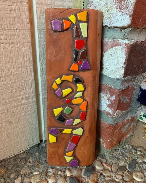 Mosaic Tile House Number on Saltillo Tile