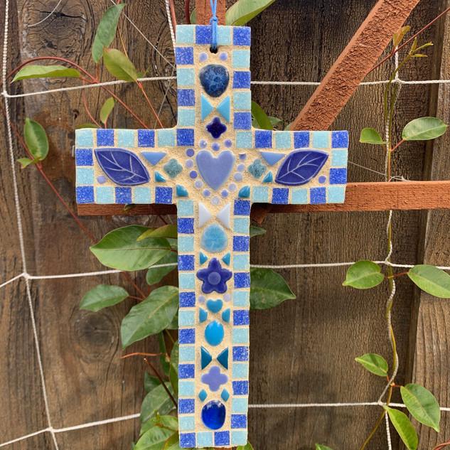 Blue Mosaic Cross