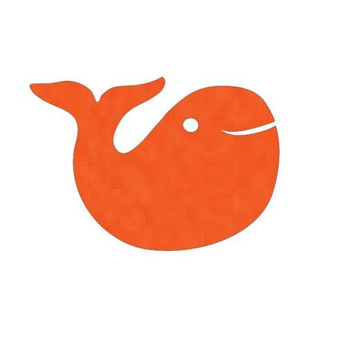 whale pin board - tangerine