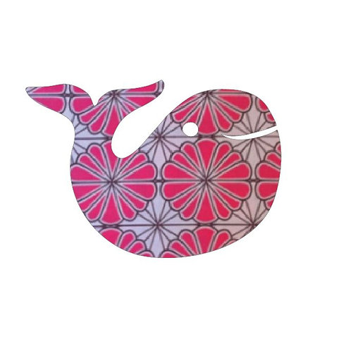 whale pin board - pink daisy