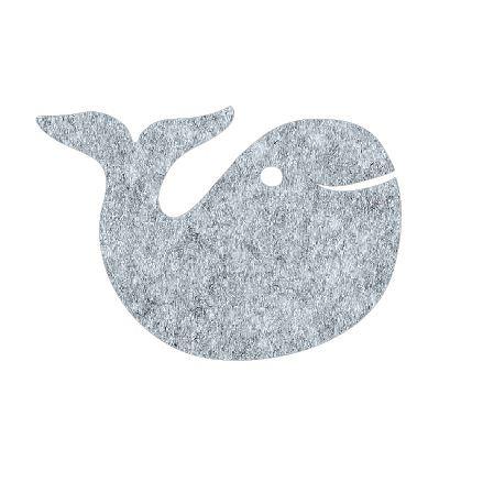 whale pin board - grey fuzz