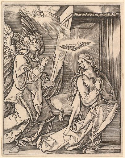 The Annunciation. on the left the archangel Gabriel approaches the praying Virgin Mary in her bedchamber, over her head a dove representing the Holy Ghost, in the sky above a figure of God the Father, after Dürer.