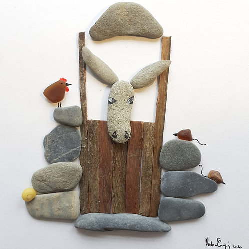 Yellow Snail Pebble Art - Donkey