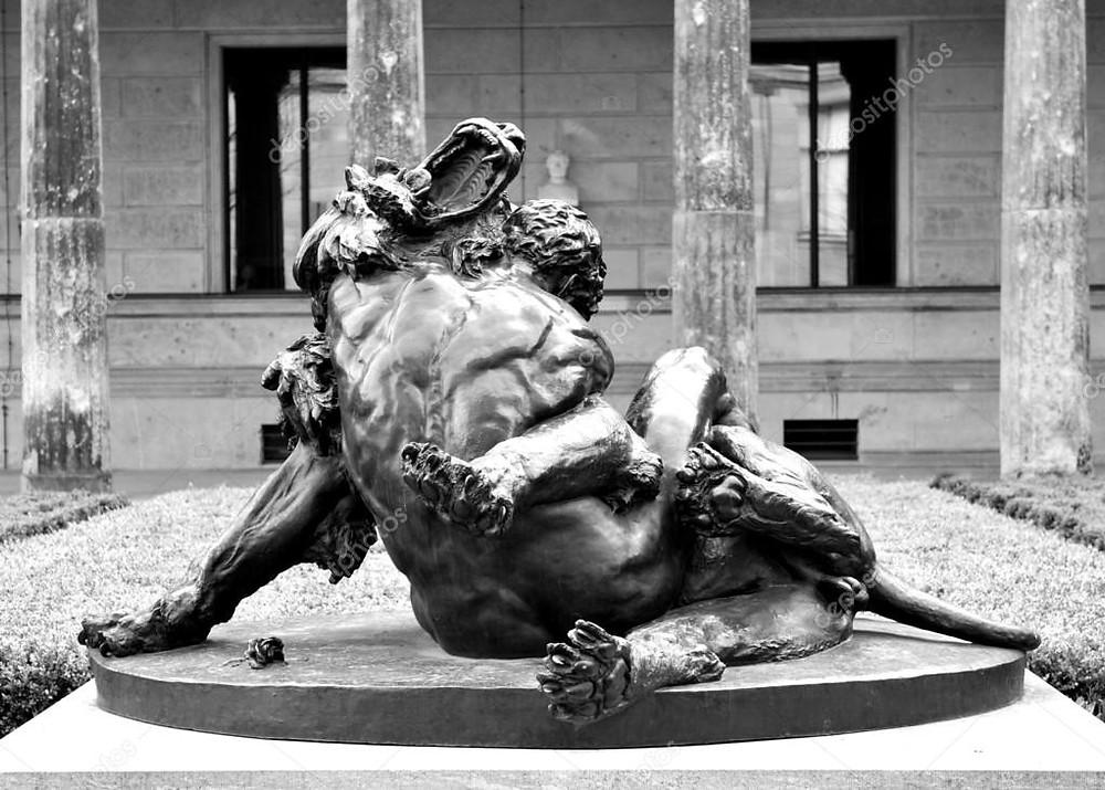 Reprodução: Héracles a estrangular o Leão de Neméia