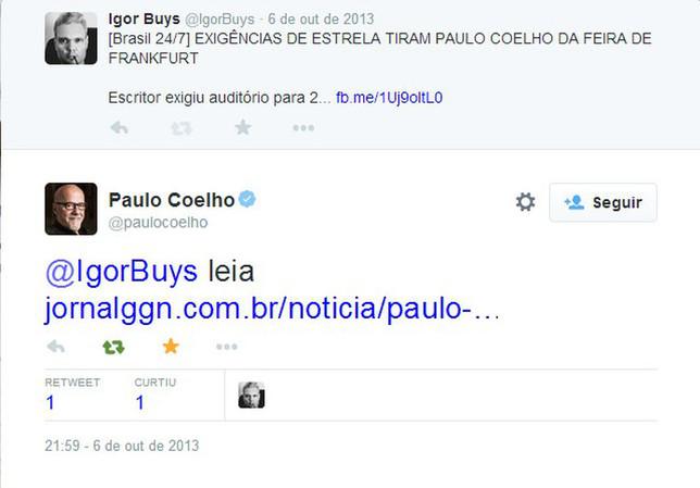 A RÉPLICA DO MAGO PAULO COELHO A UM TEXTO NOSSO RESPONDIDA NA NOITE EM QUE O TERROR ASSOLOU O RIO DE