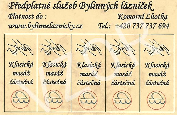 Permanentka - 5 klasických masáží částečných