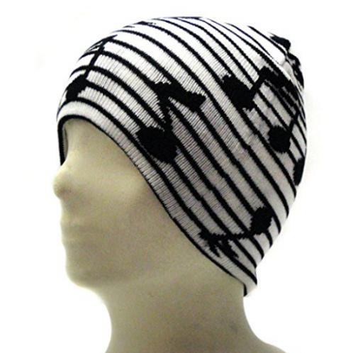 白色黑色音符滑雪帽童帽