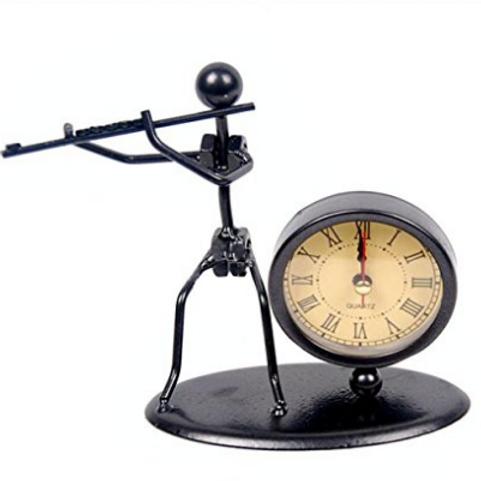 經典復古舊鐵藝長笛時鐘裝置藝術