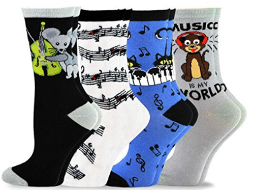 美國進口動物音樂棉襪4雙