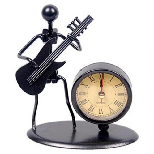 經典復古舊鐵藝Bass電吉他時鐘裝置藝術