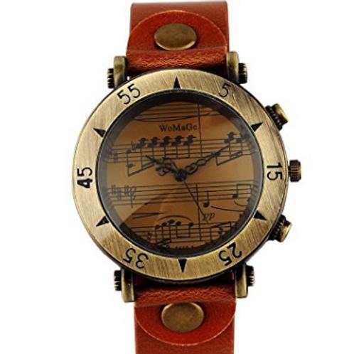 樂譜錶面皮革男士手錶