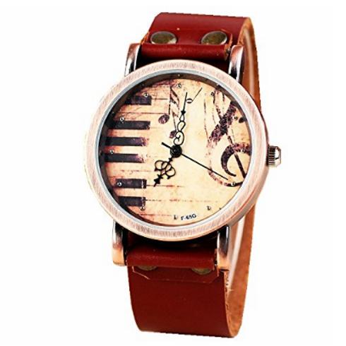 經典復古鋼琴音樂棕色真皮手錶