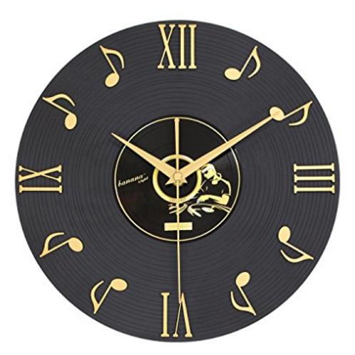 現代創意12英寸音符黑膠唱片時鐘