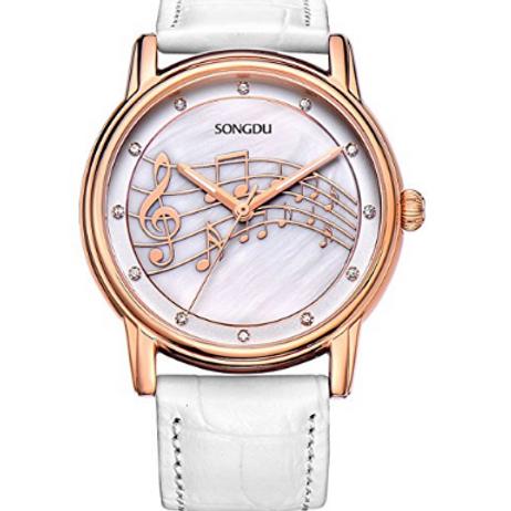 女士樂譜腕錶鑽石玫瑰金邊框皮革錶帶