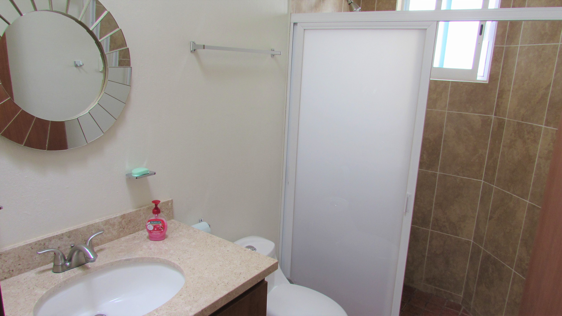 Shower with sliding doors