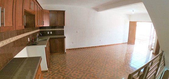 Kitchen, dining, and living room