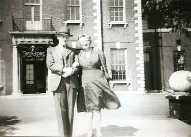 Alan and Anne Winks outside Armory House in 1947