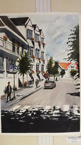 Akvarell av Wassilioff hotell i Stavern