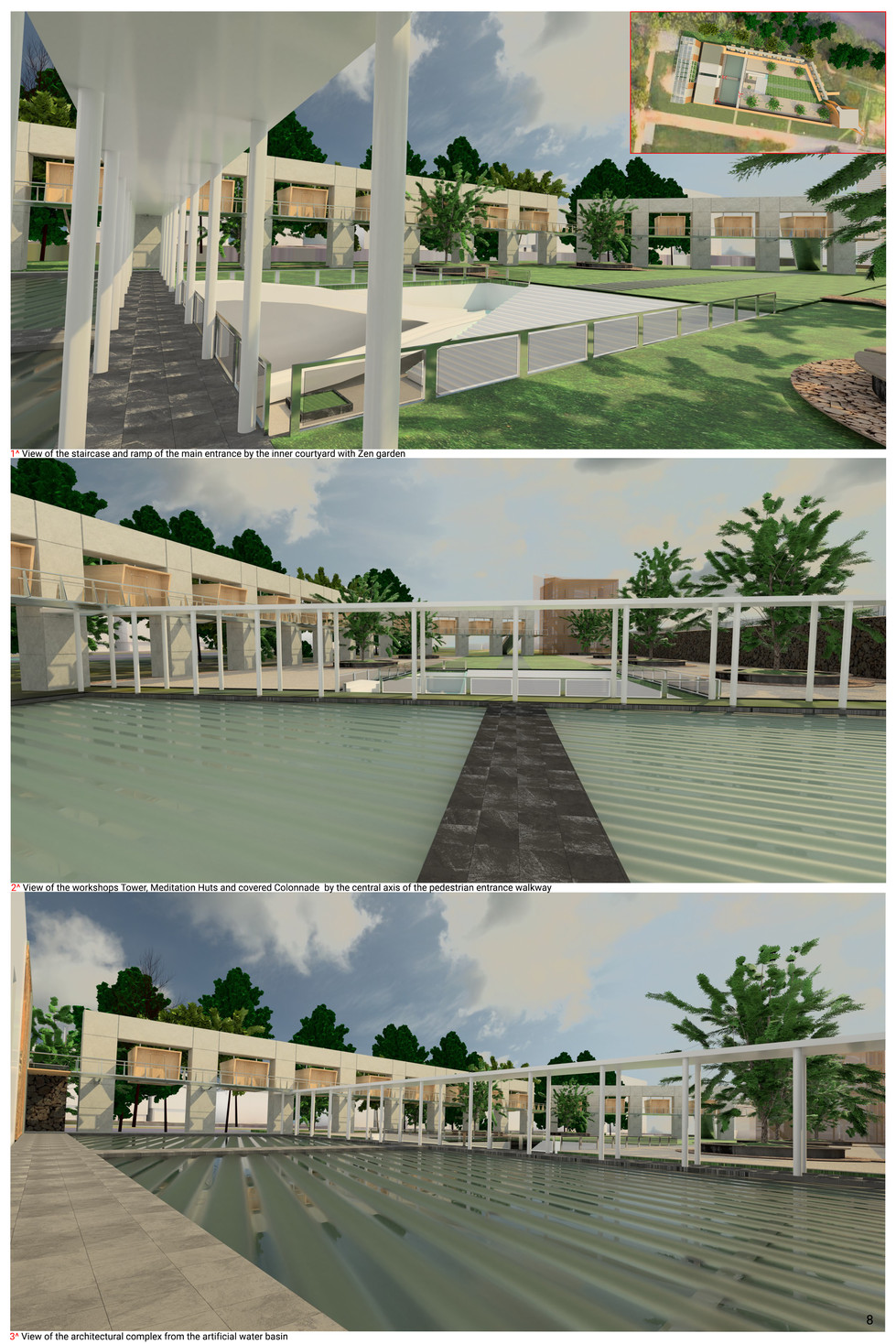 Views of the inner courtyard / water pond