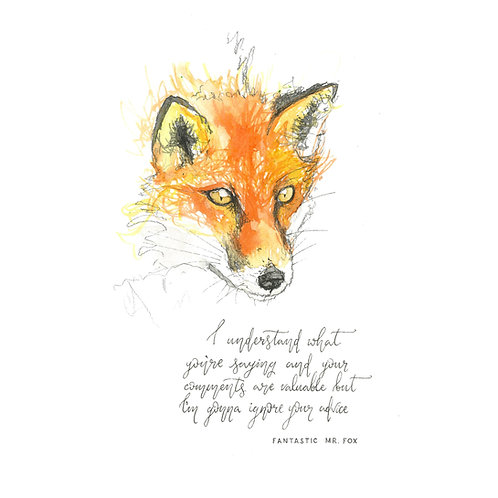 Fantastic Mr Fox Print with Mount (Various Sizes)