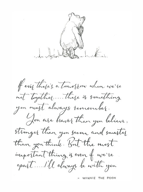 Black and White Pooh Print with Mount