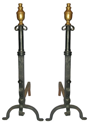 Brass Top Hand Wrought Iron Andirons with Pennyfoot