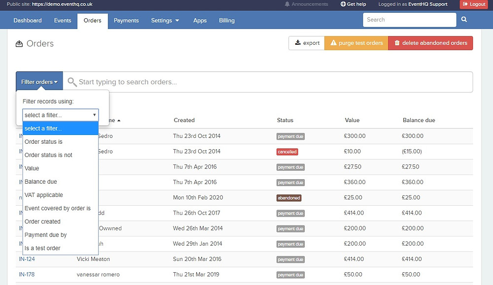 How to filter orders in event management software