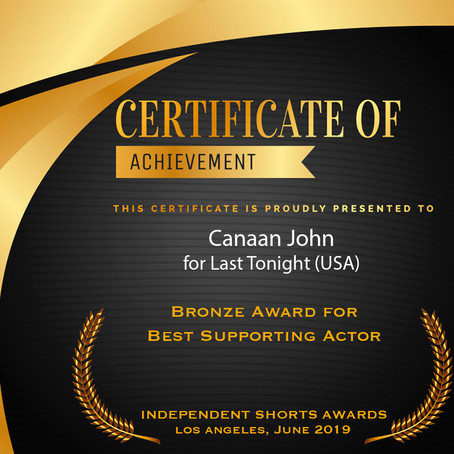 Winner of Best Supporting Actor Bronze Award