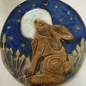Ceramic Moon gazing hare