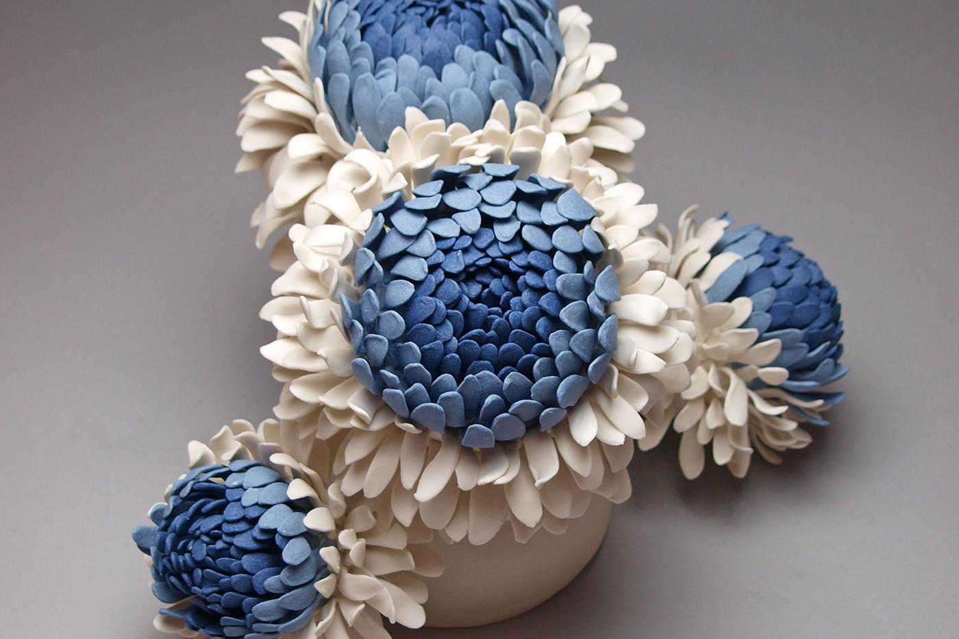 Porcelain flower sculpture