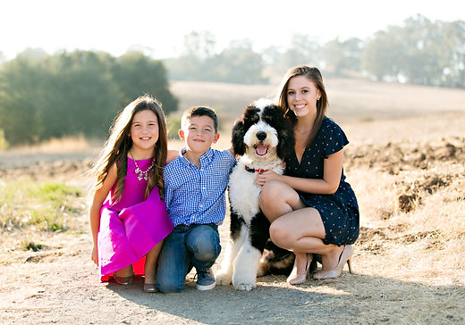 Family with a Missouri Bernedoodle puppy