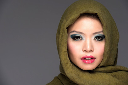 Makeup with scarf hijab fashionon
