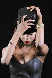 Black Magic Magician Top Hat Red Lip