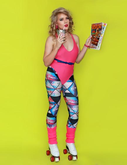 Skater barbie 80's eighties blonde pink activewear