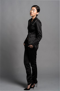 Woman in Black Suit Androgenous Editorial Photoshoot