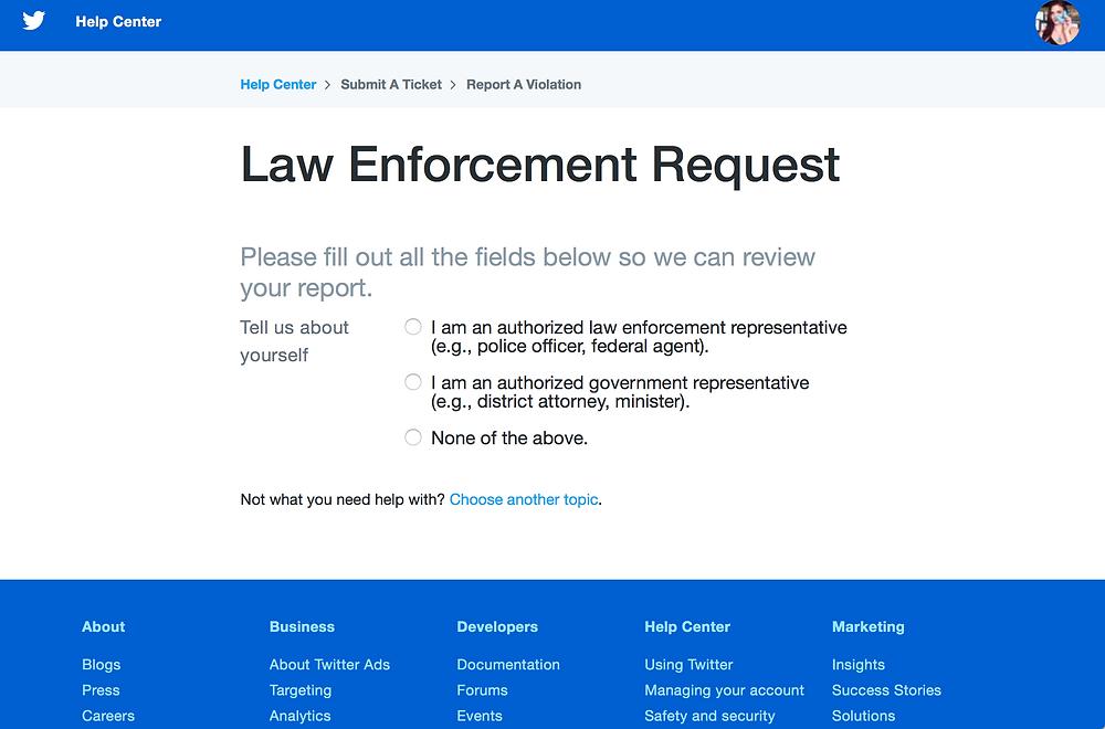 Twitter Law Enforcement Request