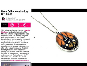 Radar Magazine features Chrysalis Studios in their Holiday Gift Guide!