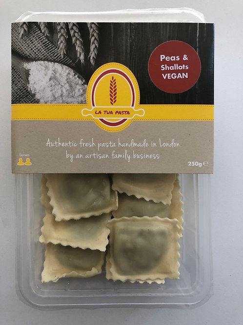 Vegan Ravioli of Pea and Shallots