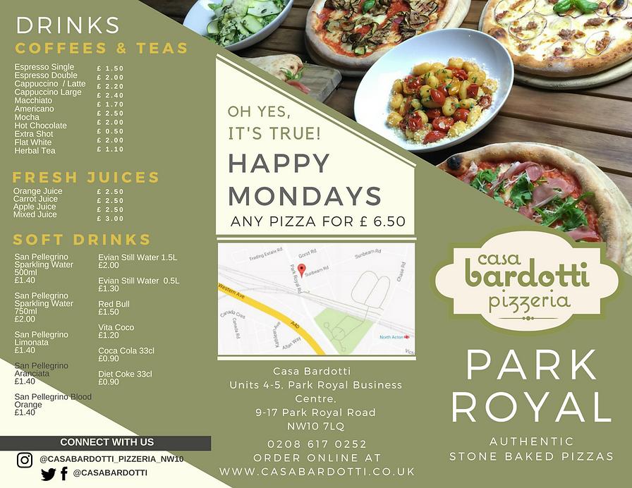 Fresh Pizza Menu For Park Royal Cafe Restaurant