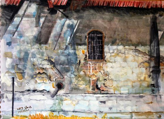 קיר עתיק - חוות אלנבי