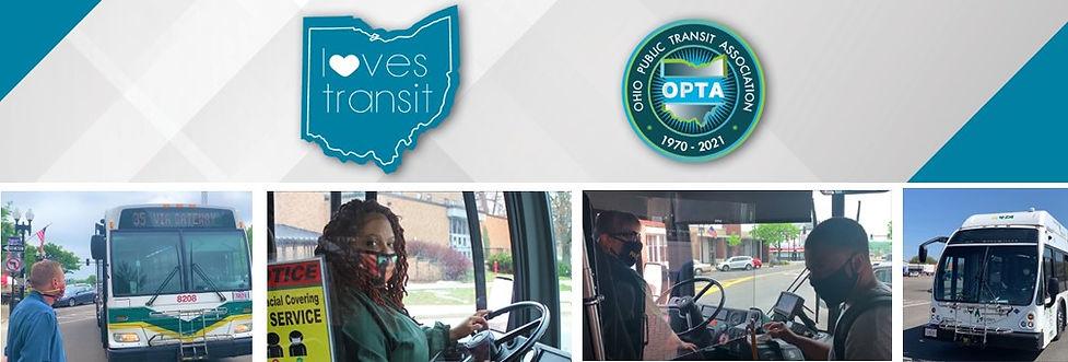 Ohio Loves Transit Logo, Ohio Public Transit logo, transit rider waiting for bus, bus driver behind will, passenger boarding bus, bus in transit