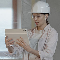 Woman in construction hat