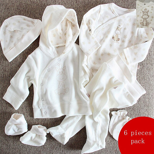 Set 6pcs Baby Clothes Romper Baby Jumpsuit T-Shirt Hat Shoes Pants Set Gift