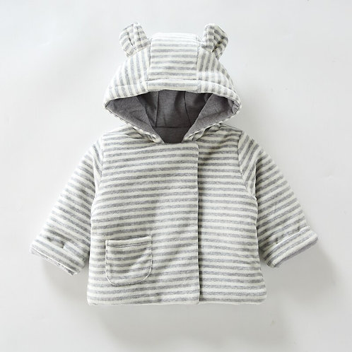Baby Clothes Hooded Jacket Warm Children Clothing Baby Stripes Clothing