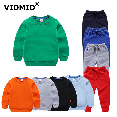 VIDMID Children's Solid Clothing  Kids Sweater Pants  Cotton Girls Boys Clothing