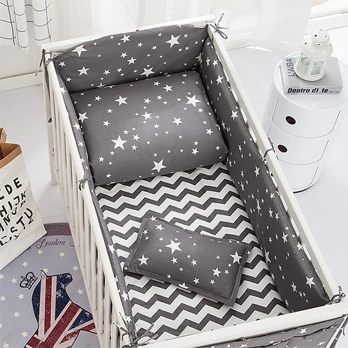 100%Cotton Cartoon Baby Crib Bumpers Padded  Newborn Crib Rail Cot Bed Sheets