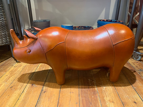 Leather Rhino foot stool