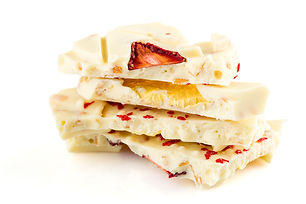 Stack of white chocolate bar pieces with